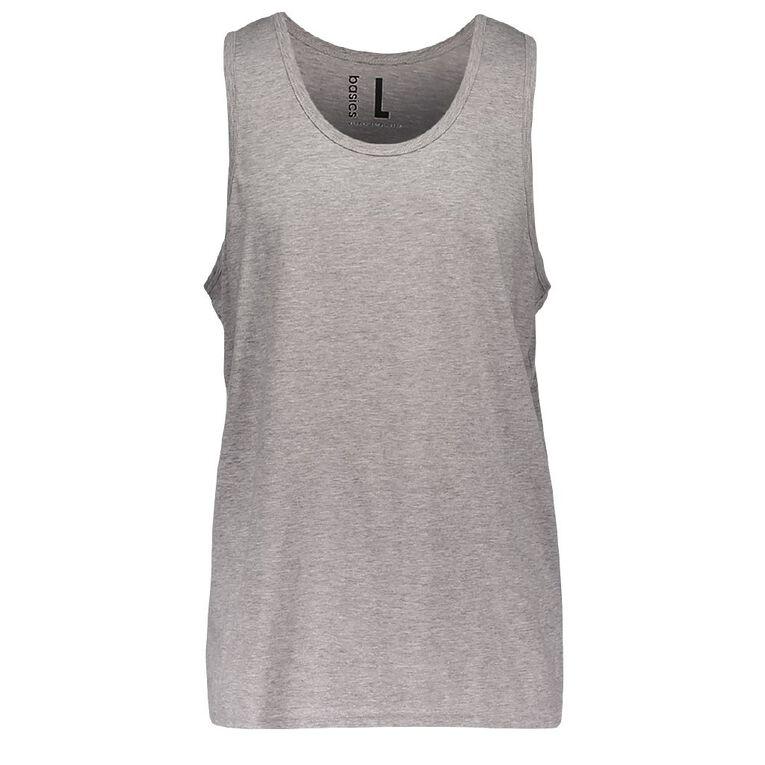 H&H Men's Plain Singlet, Grey Mid, hi-res