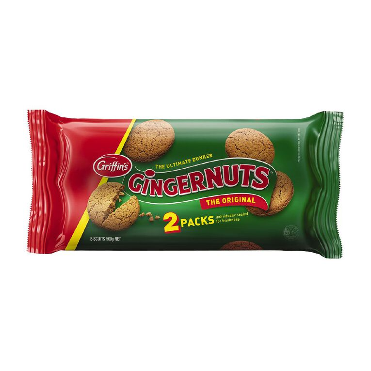 Griffin's Gingernuts Biscuits Twin Pack 500g, , hi-res