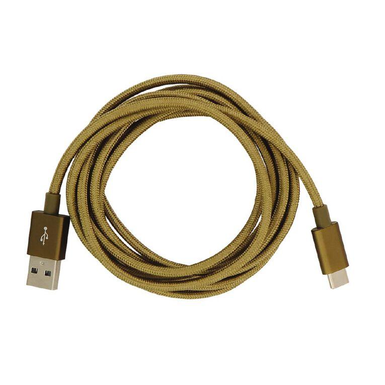 Botanic Geo USB-C Cable Gold 2m, , hi-res
