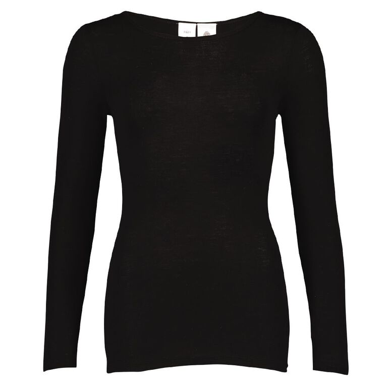 H&H Women's Merino Long Sleeve Boat Neck Top, Black SOLID, hi-res image number null
