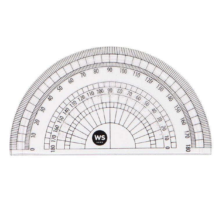 WS Protractor 180 10cm Clear, , hi-res