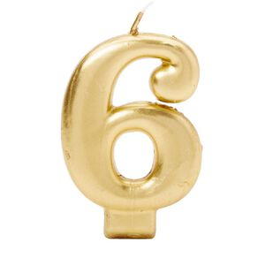 Candle Metallic Numeral #6 Gold