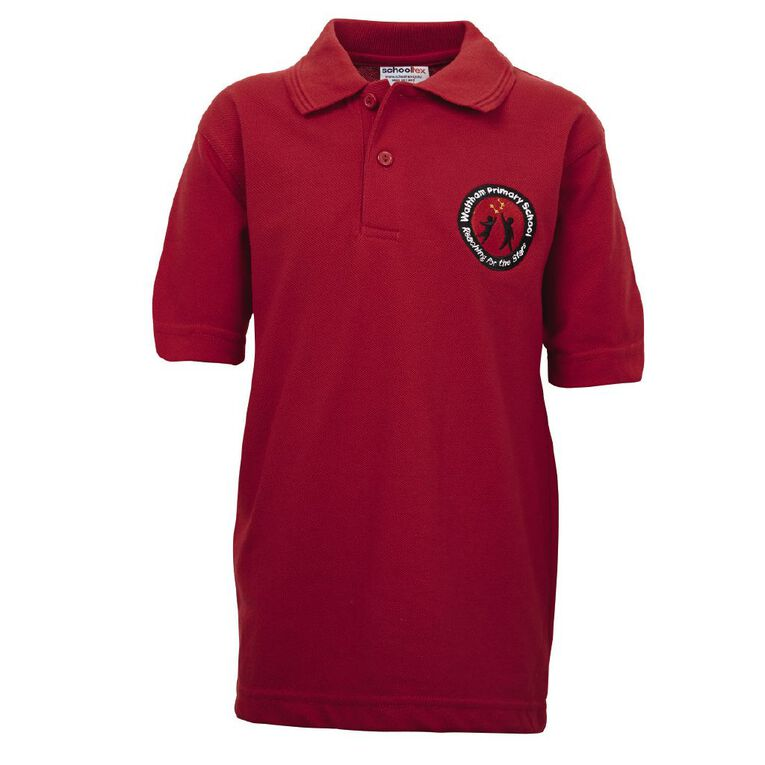 Schooltex Waltham Short Sleeve Polo with Embroidery, Red, hi-res