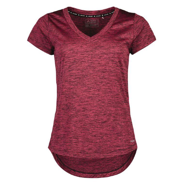 Active Intent Women's V Neck Marl Tee, Pink Dark, hi-res
