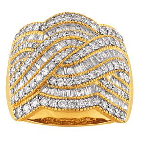 2.00 Carat Diamond 9ct Gold Fancy Braid Ring