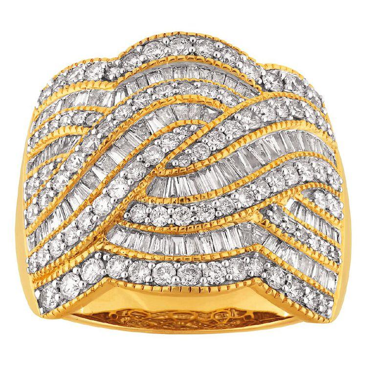 2.00 Carat Diamond 9ct Gold Fancy Braid Ring, Yellow Gold, hi-res