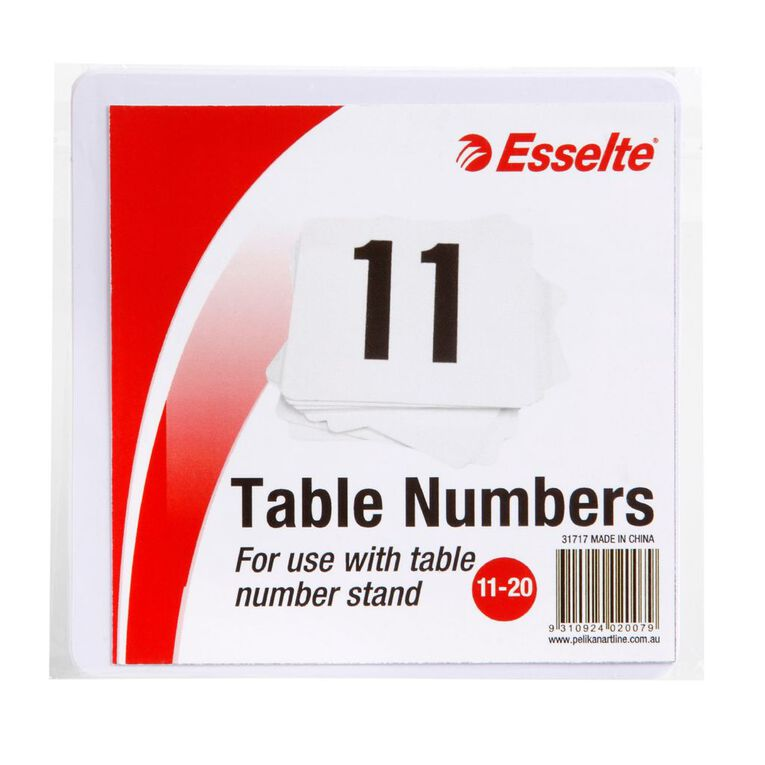 Esselte Table Numbers 11-20 10cm 10 Pack White, , hi-res