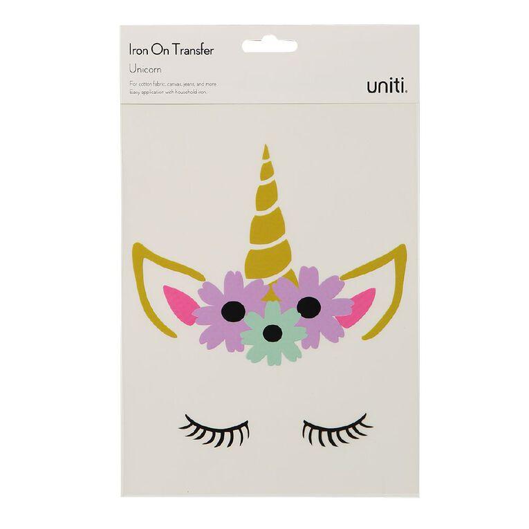Kookie Iron on Transfer Unicorn Face, , hi-res