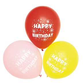 Party Inc Balloons Printed Happy Birthday 25cm 12 Pack