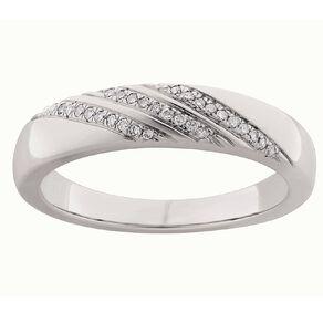 0.10 Carat Diamond Sterling Silver Band Ring