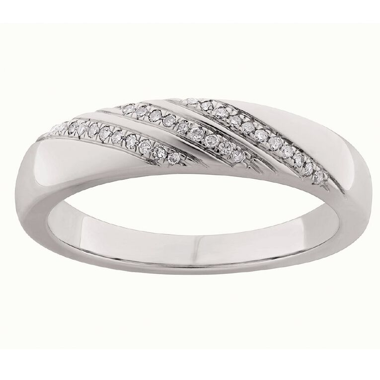 0.10 Carat Diamond Sterling Silver Band Ring, Sterling Silver, hi-res