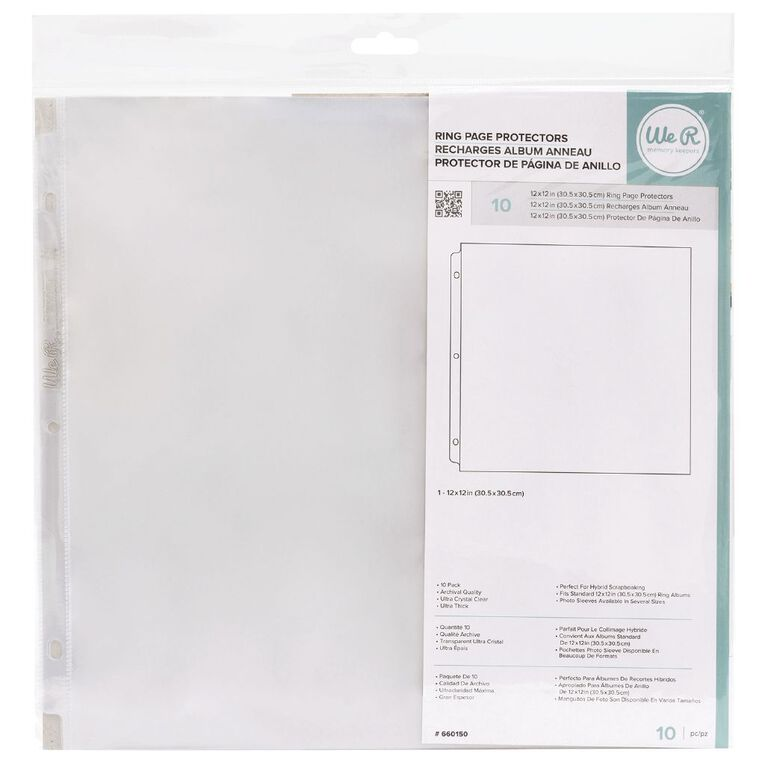 We R Memory Keepers Ame Photosleeve 12 x 12 Ring 10 Pack 12 x 13 Clear, , hi-res image number null