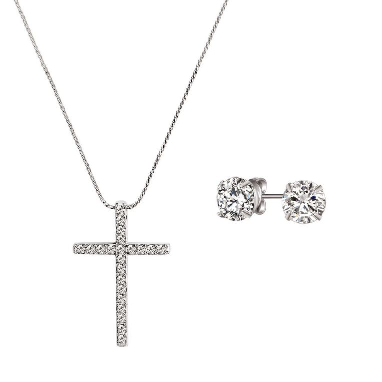 Mestige Silver Plated Blessed Set with Swarovski Crystals, , hi-res