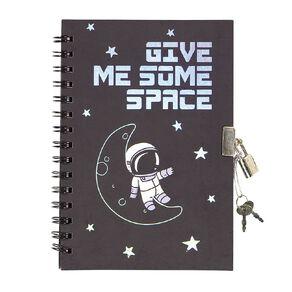 Kookie Space Lock Notebook With Pen Black A5