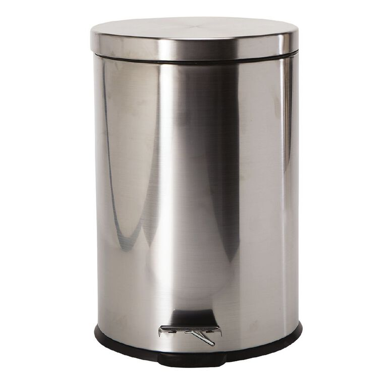 Living & Co Pedal Bin Stainless Steel Silver Silver 20L, , hi-res
