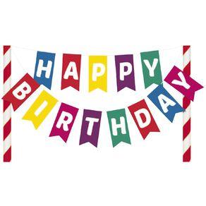 Artwrap Happy Birthday Bunting Cake Topper Multi-Coloured