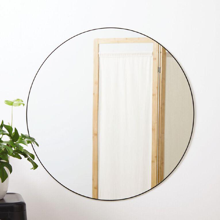 Living & Co Round Wall Mirror Black 80cm, , hi-res