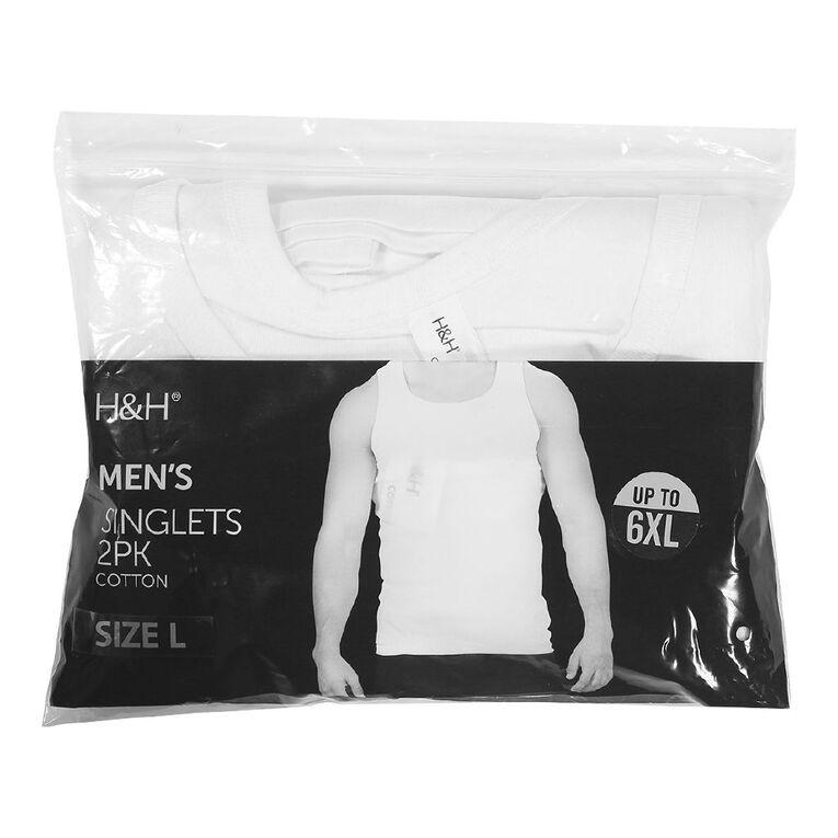 H&H Men's Singlets 2 Pack, White, hi-res