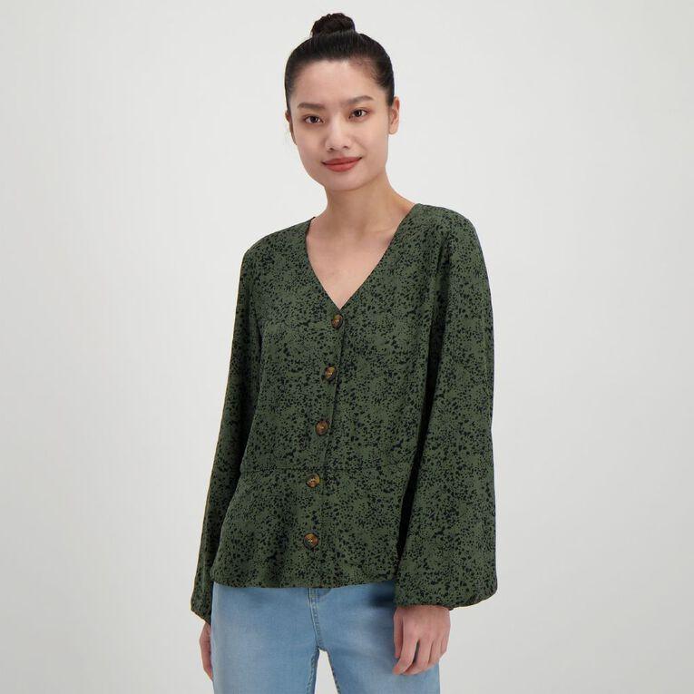 H&H Women's Tort Button Twill Blouse, Green Dark, hi-res