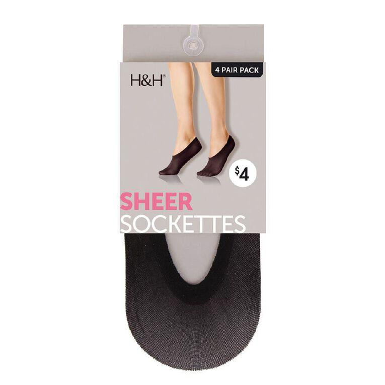H&H Women's Sockettes 4 Pack, Black, hi-res image number null