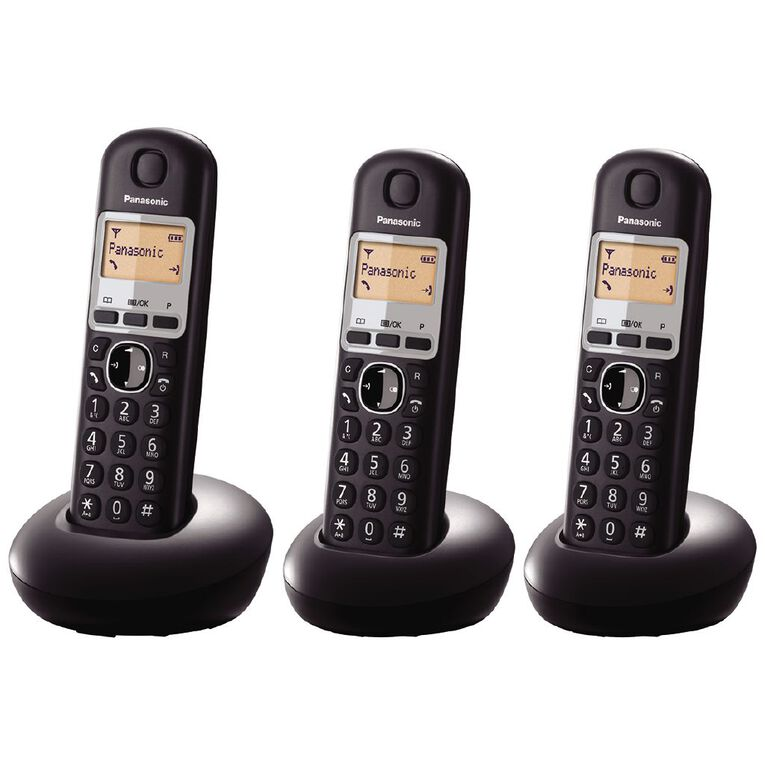 Panasonic KX-TGB213NZB Triple Cordless Handset Black Black, , hi-res