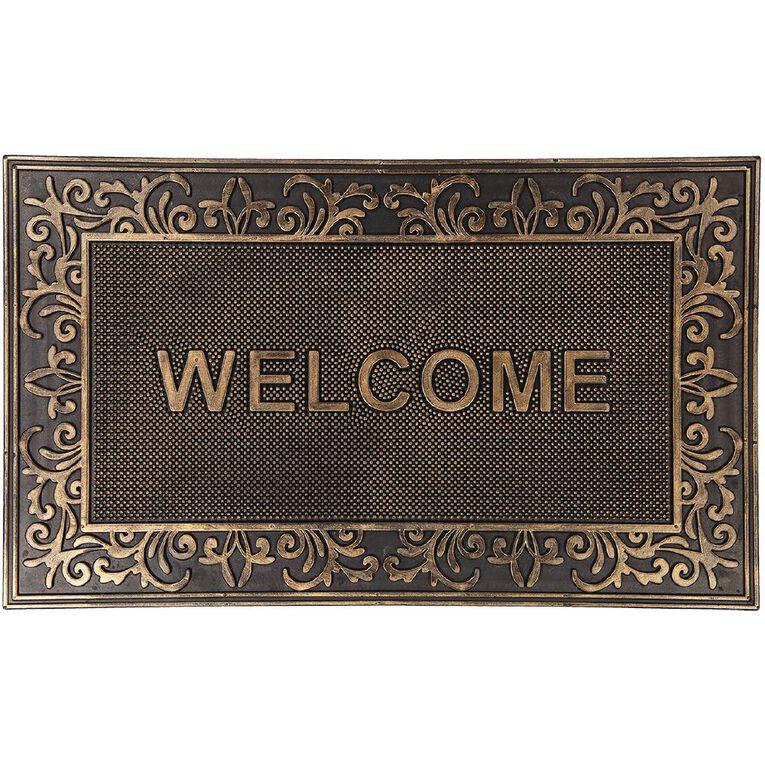 Living & Co Welcome Metallic Door Mat Bronze 45cm x 75cm, Bronze, hi-res