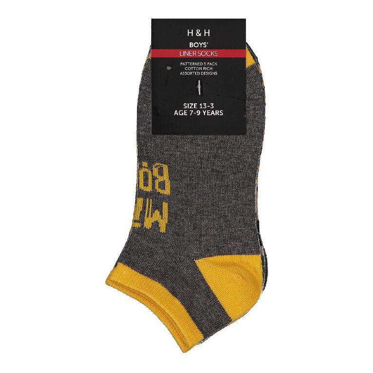 H&H Boys' Jacquard Liner Socks 5 Pack, Charcoal/Marle, hi-res