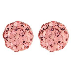 Sterling Silver Light Pink Crystal Half Ball Stud Earrings