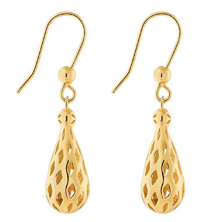 9ct Gold Filigree Drop Earrings, , hi-res