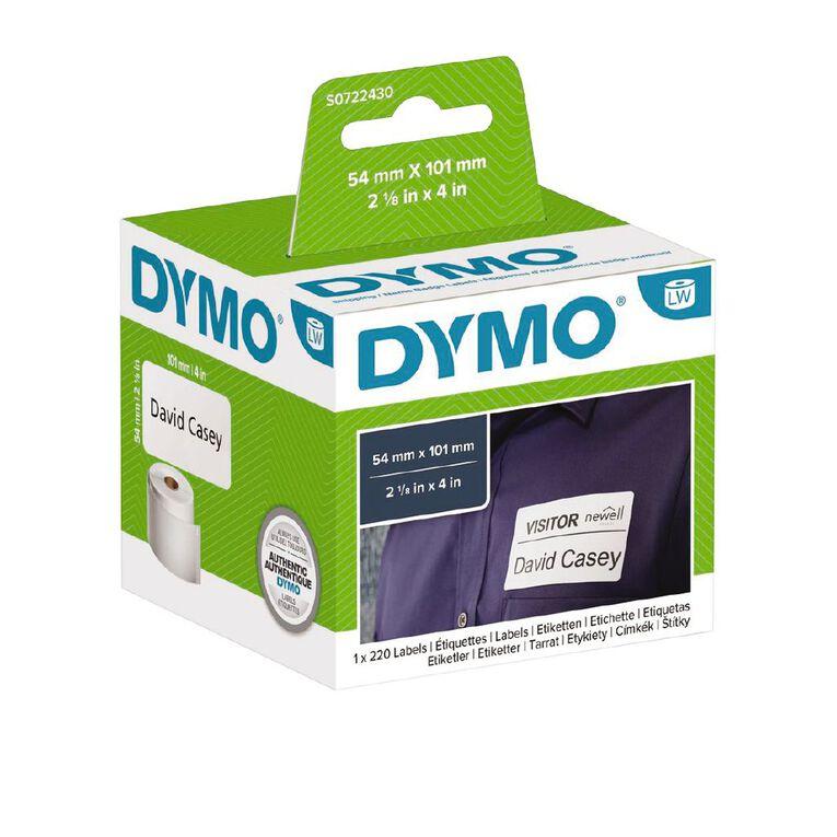 Dymo Label Tape Name Badge/Ship 101mm x 54mm, , hi-res