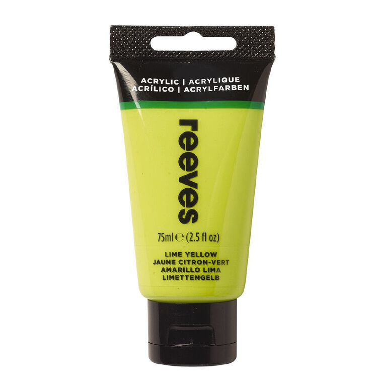 Reeves Fine Acrylic 75ml Lime Yellow 415 75ml, , hi-res