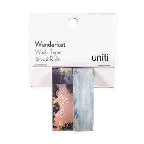 Uniti Wanderlust Washi Tape Blue & Messages 5m x 2 Rolls