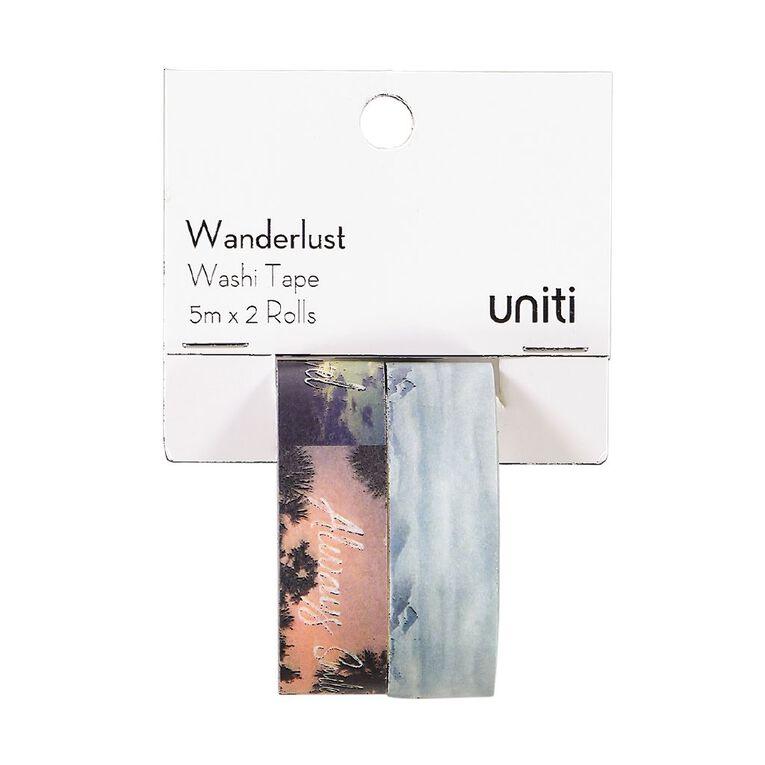 Uniti Wanderlust Washi Tape Blue & Messages 5m x 2 Rolls, , hi-res