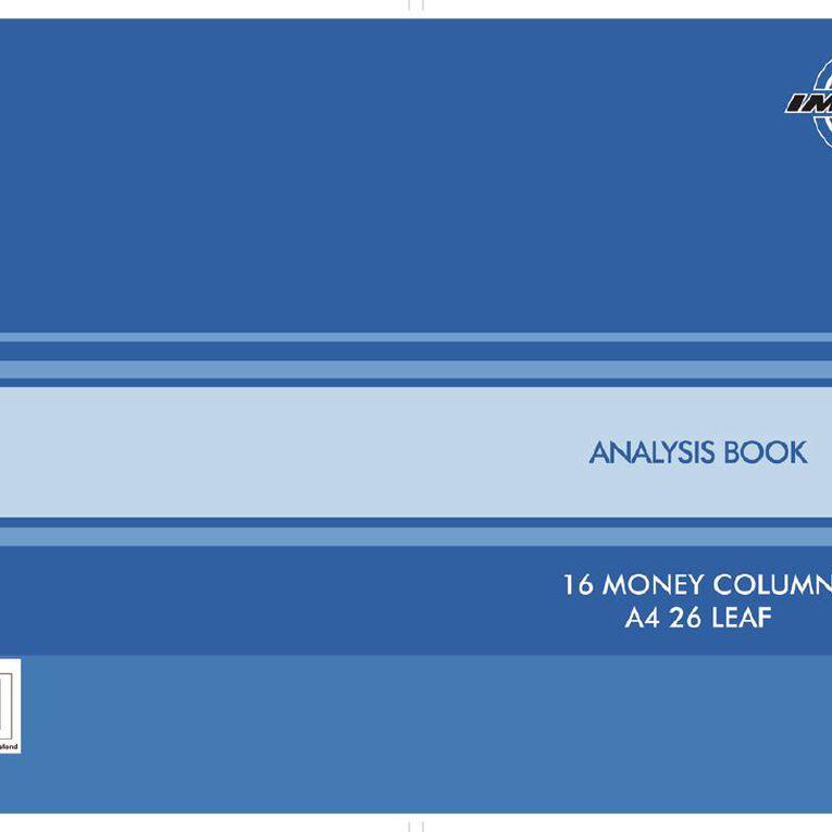 WS Analysis Book Limp 16 Column Blue A4, , hi-res