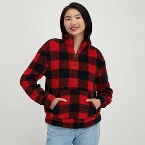 H&H Women's Zip Collar Sherpa Sweatshirt