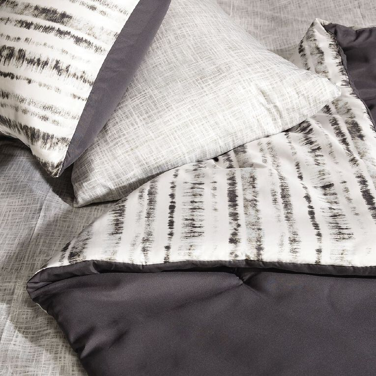 Living & Co Comforter Set 7 Piece Inkwell Multi-Coloured Queen, Multi-Coloured, hi-res