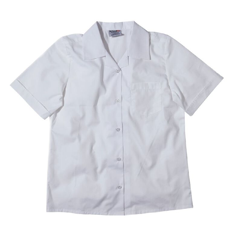 Schooltex Women's Short Sleeve Blouse, White, hi-res