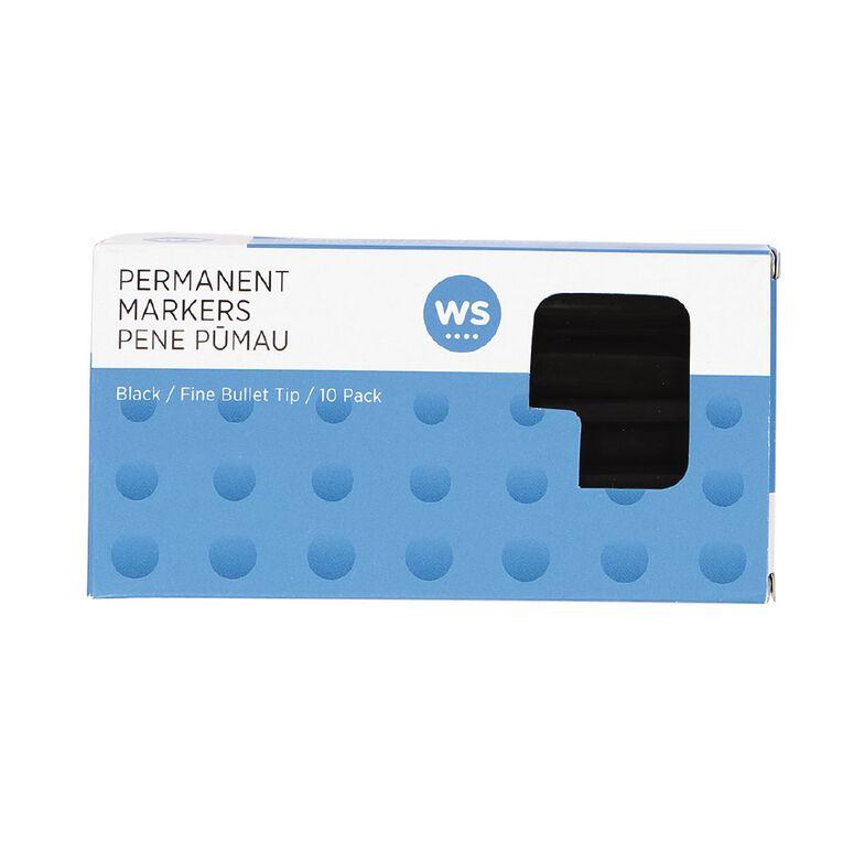 WS Permanent Marker Fine Black 10 Pack, , hi-res image number null