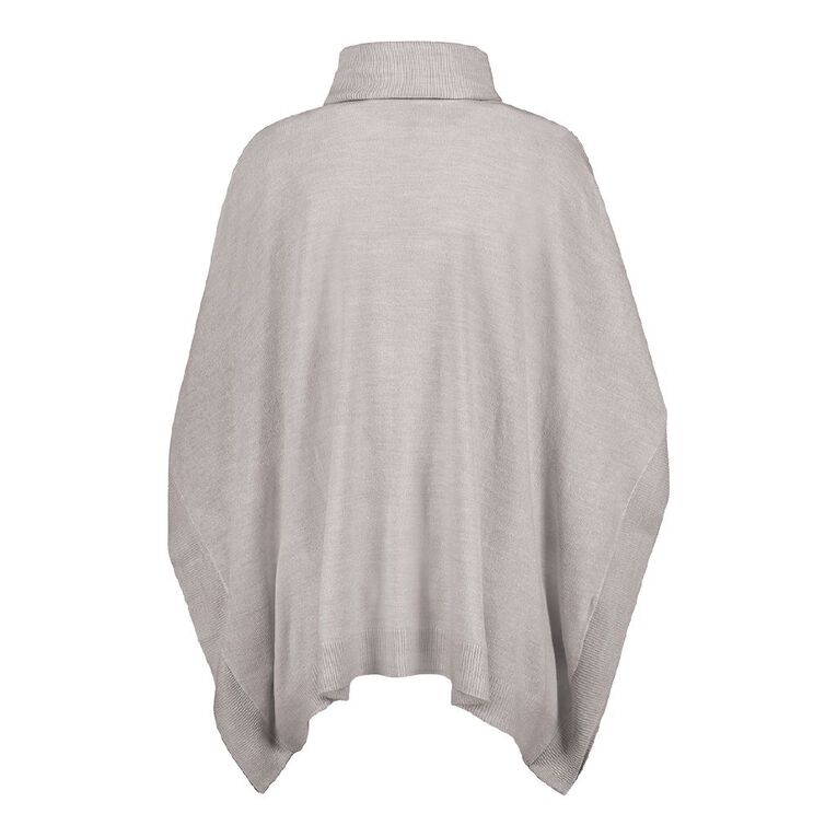 H&H Women's Roll Neck Poncho, Grey Marle, hi-res