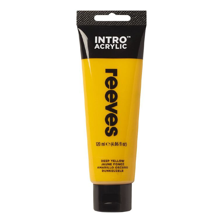 Reeves Intro Acrylic Paint Deep Yellow 100ml, , hi-res