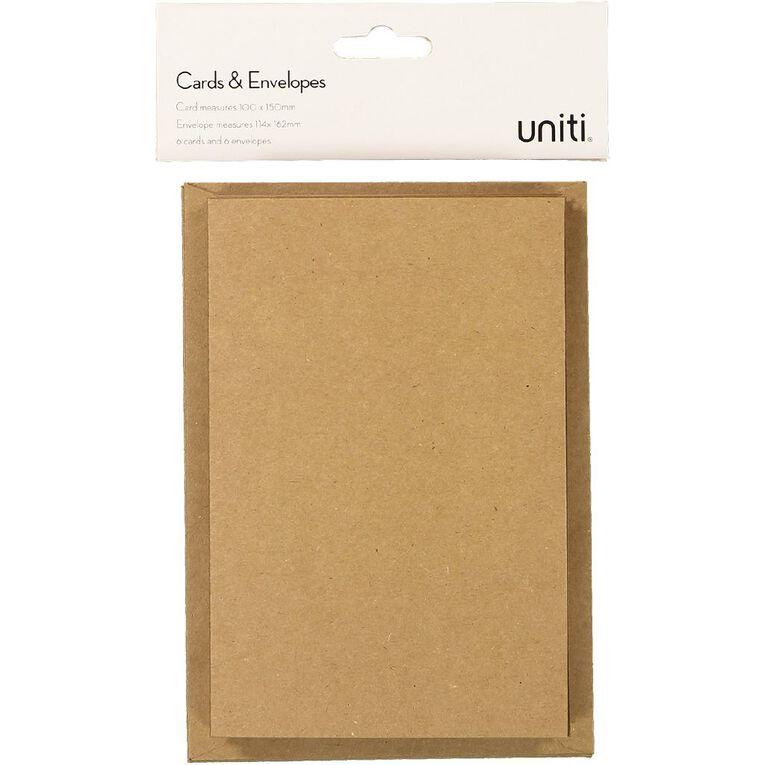 Uniti Cards & Envelopes Kraft 6 Pack, , hi-res