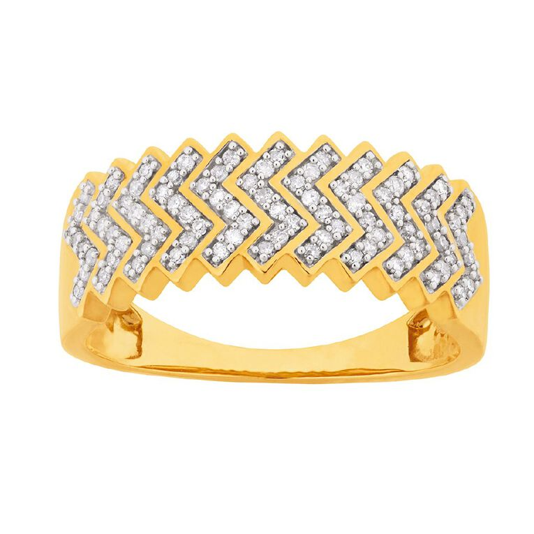 0.25 Carat Diamond 9ct Gold Zigzag Ring, Yellow Gold, hi-res image number null