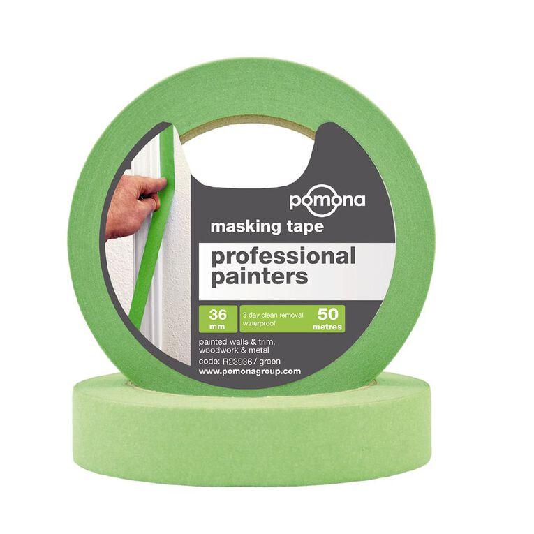 Pomona Professional Painters Crepe Rubber Masking Tape 36mm x 50m Green, , hi-res