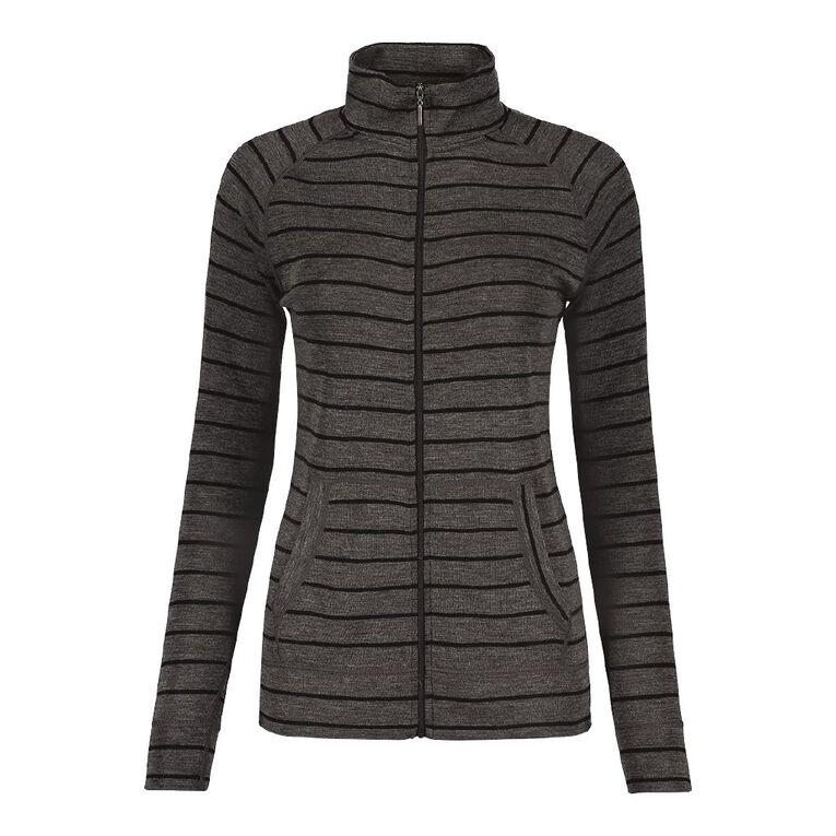 H&H Women's Merino Blend Zip Collar Cardi, Grey Dark, hi-res