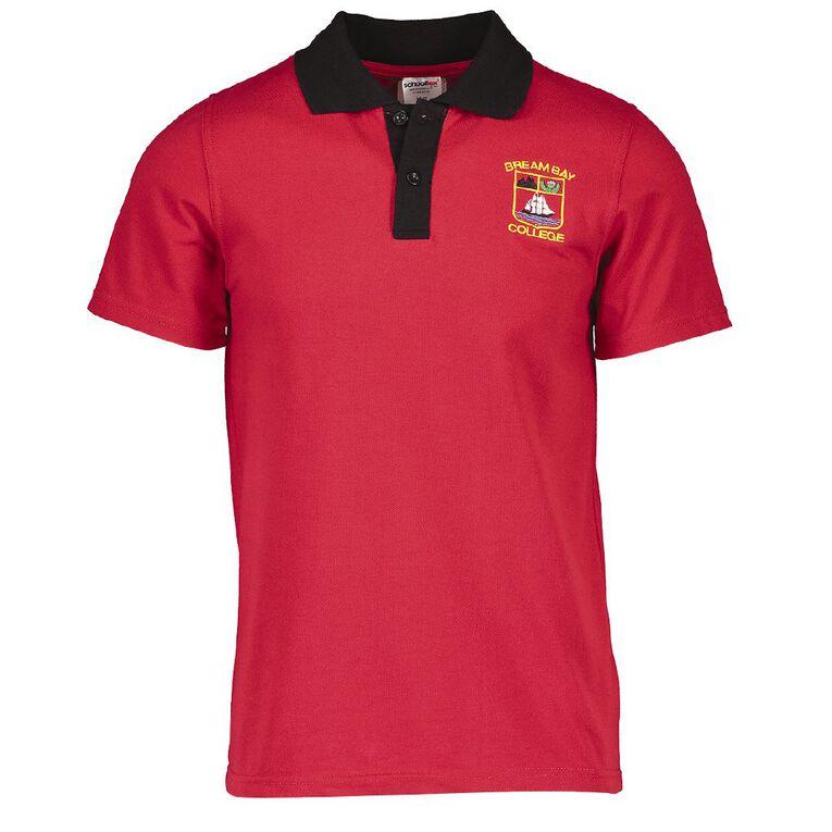Schooltex Bream Bay Short Sleeve Polo, Red/Black, hi-res