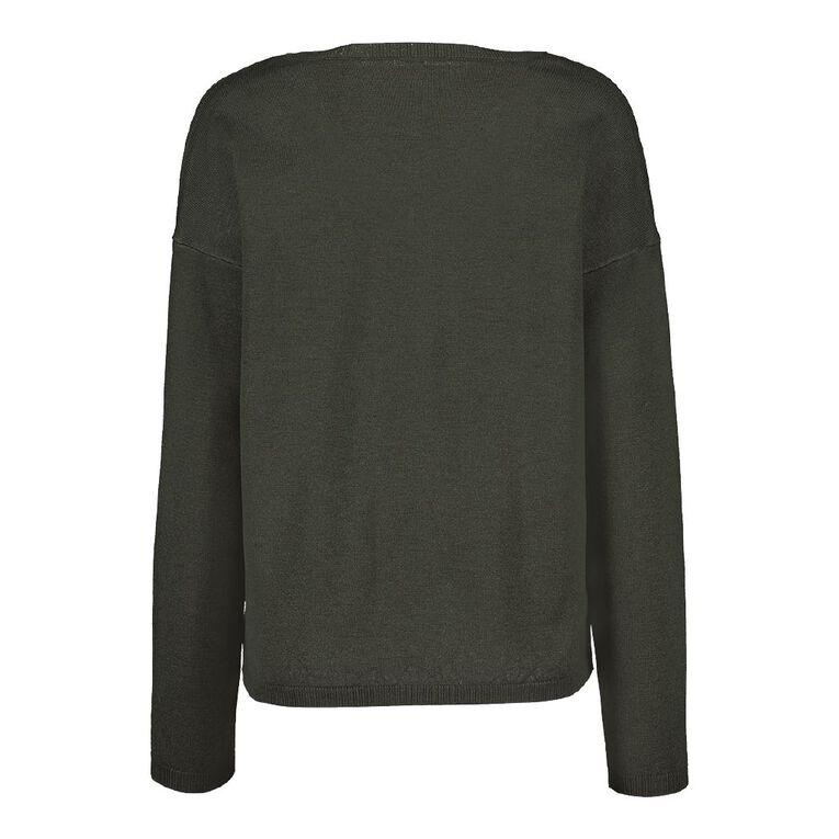 H&H Women's Drop Shoulder V Neck Knit, Green Dark, hi-res