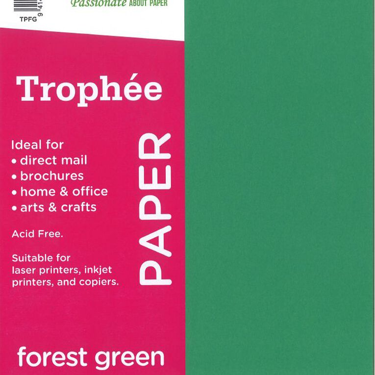 Trophee Paper 80gsm 30 Pack Forest Green A4, , hi-res