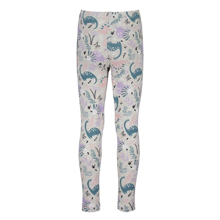 Young Original Girls' Lilly Leggings, Grey Light DINOSAUR, hi-res