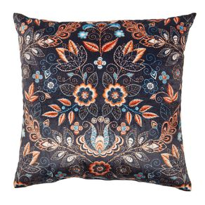 Living & Co Print Velvet Cushion Navy 43cm x 43cm