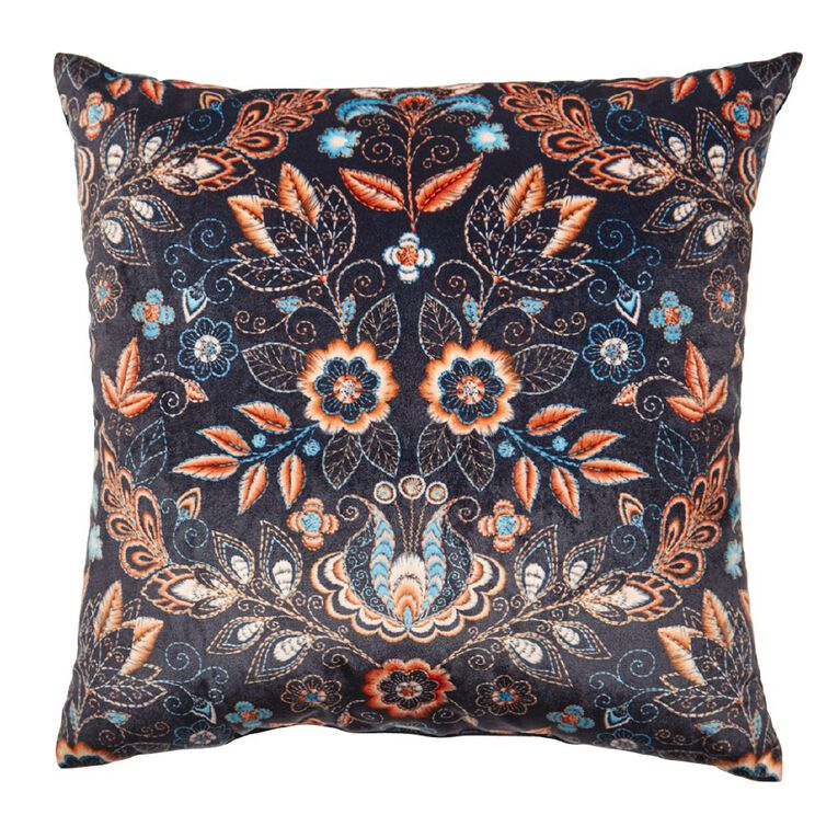 Living & Co Print Velvet Cushion Navy 43cm x 43cm, Navy, hi-res